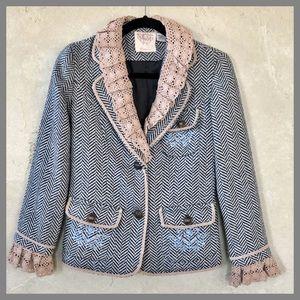 Lulumari Ruffle Crochet Embroidered Blazer Jacket